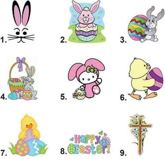 Waterslide Nail Decals Set of 20- Easter Bunny Eggs, Chick or Cross - you choose