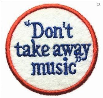 NEW DON'T TAKE AWAY MUSIC Iron ON Patch Music Awareness Embroidery Applique Badge FREE SHIPPING
